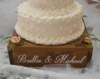 Personalized Rustic wedding cake stand, 16 x 16 cake stand/riser, custom wood cake stand, wooden wedding cake stand