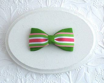 """3"""" Pink and Green Preppy Striped Boutique Hair Bow for Toddlers ~ Girls"""