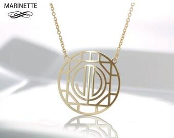 Art Deco style monogram necklace