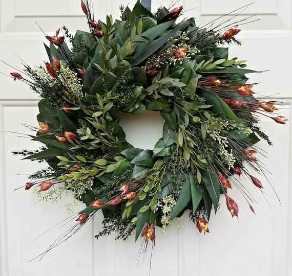 Preserved fall wreath, eucalyptus wreath, leaf wreath, foliage wreath, gift wreath, natural wreath