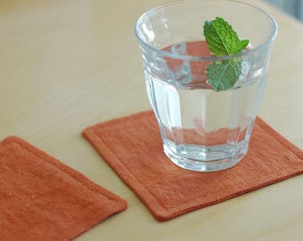 Linen Fabric Coasters Set of 4 / Rust