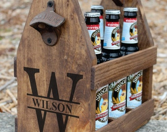MONOGRAM Rustic Wood Beer Tote Wedding Party Gifts Wood Beer Carrier, Personalized Wooden Beer Caddy, Bottle Opener Beer Lover Gift Fun gift