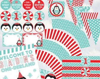 Winter One-Derland Fun To Be One First Birthday Boy Party Printable Package - Penguins, Snowflakes, Peppermint - Aqua, Red