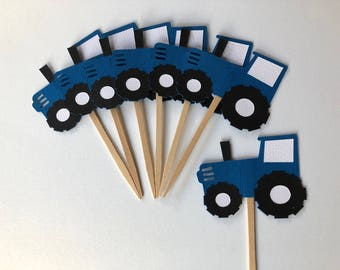 12 John Deere Tractor Cupcake Toppers  - CHOOSE YOUR COLORS | Barnyard theme birthday | Tractor birthday party