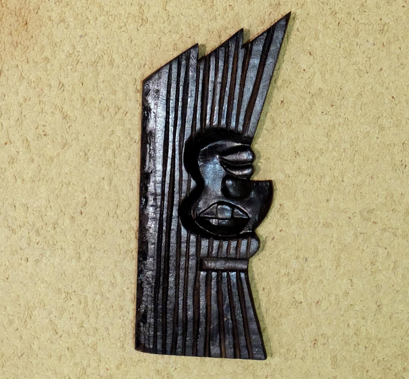 Vintage Wooden Mask black wooden wall mask ethnic face mask