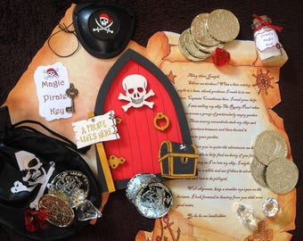 Pirate fairy door kit with pirate fairy door, key, personalised pirate letter, bag of loot, treasure map, Pirate's gold dust, eye patch