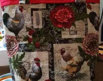 Rooster wine tote bag
