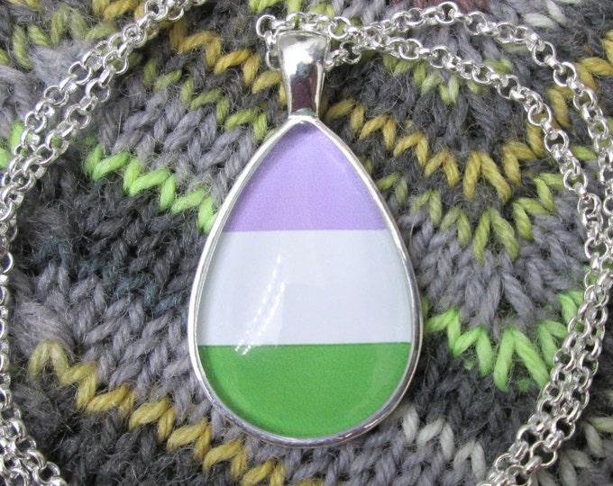Genderqueer Pride - Non-Binary Pride Flag Pendant Necklace
