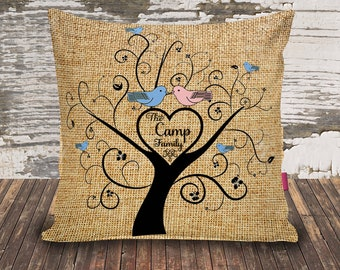 Family Tree/Faux Burlap/Throw Pillowcase/16x16/custom print/personalized/wedding gift/christmas gift/unique family gift/Mother's day gift