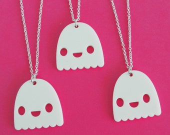 Ghost Necklace - Happy Phantom Acrylic Charm with Chain