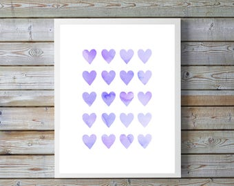 Purple,watercolor heart,hearts,nursery art, nursery decor,nursery,gift for baby, girl, boy,Neutral,nursery watercolor, hearts, Love, heart