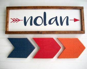 Nursery Name Sign Set . Navy and Red Nursery . Name Sign . Set of Arrows. Tribal Nursery . Rustic Nursery . Woodland . Big Boy Room