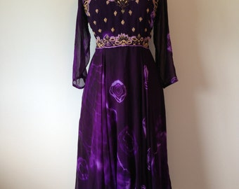 Unique Indian Inspired Rich Purple Dress / Gold Psychedelic Hippie Boho Dress / Matching Scarf