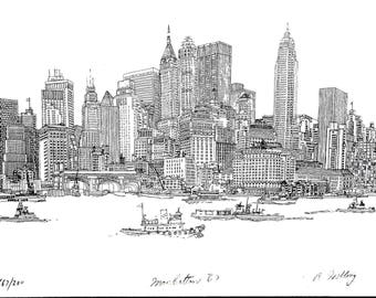 Manhattan New York 1967 By Respected Artist Richard Welling Highly Detailed Artwork (25 X 18) Pre-Construction World Trade Center!