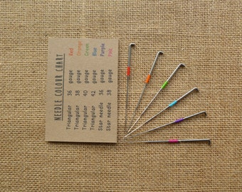 30 mixed felting needles star and triangular - reborn needles - colour coded - wool roving - needle felting - animal - amigurumi - kawaii