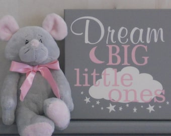 Baby Girl Nursery Wall Art | Dream Big Little Ones | Twins Bedroom Sign | Pink and Gray Wall Decor | Gifts For Twin Babies