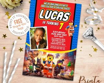 Digital Building Bricks invitation. FREE thank you tags, Bricks party printables, Bricks Movie birthday invitation, Kids blocks invitation