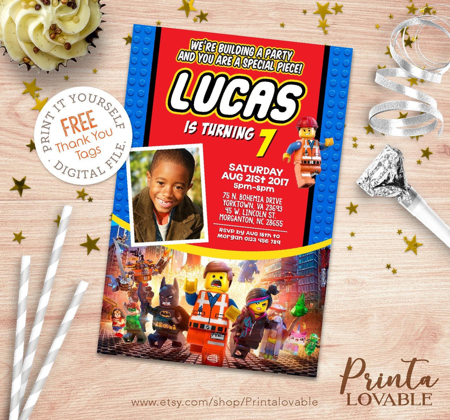 Digital Lego Movie invitation. FREE Lego Movie thank you