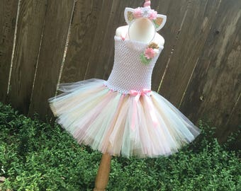 Pastel unicorn tutu - unicorn tutu dress -  girls costume - Halloween costume - unicorn dress - pink white mint gold tutu - unicorn costume