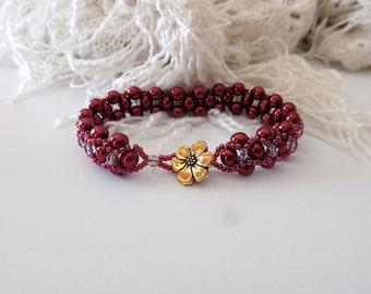Burgundy Bracelet Seed Bead Bracelet Hugs and Kisses Style Victorian Style Bracelet Gift for Her Mother's Day
