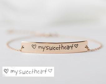Actual Handwriting Bracelet - Handwriting Bar Bracelet - Memorial Bracelet - Bridesmaid Gift - Mother Gifts- Christmas Gift