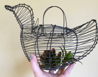 Vintage Wire Egg Basket, Chicken or Duck Shaped,  Farmhouse,  Rustic, Garden Decor