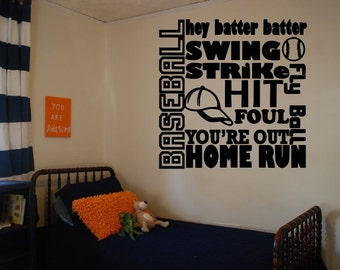 Baseball Decal Boys Room Decal Bedroom decal Wall Sticker Sports Wall Decal Vinyl Wall Decals Wall Art