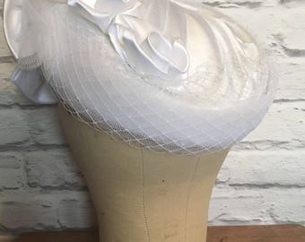 1980's Restyled White Bridal Hat
