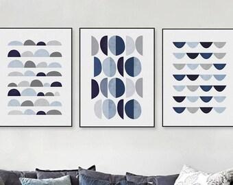 Modern Abstract Geometric Shape A4 Art Print  Blue  Nordic Set of 3 Digital Download Print  Wall  Decor Illustration JPG  Download