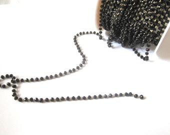 Beaded chain beads 3mm black crytal