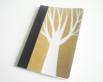White tree,  pocketbook bamboo paper. Rustic and Woodland,(3,34 x 5,04 inch)