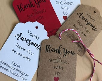 Small Business Tags, Small Business Thank You, Small Business Saturday, Business Tags, Thank You Tags, Personalized Tags, Business Cards