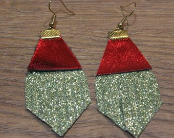 Holiday Titan Leather Earrings - Chartreuse Glitter and Metallic Red
