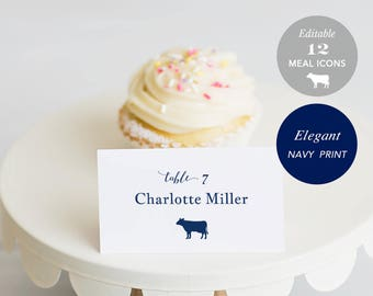 Wedding Place Card Printable, Place Card Template, Meal Choice Selection, Table Number Name Card Navy Blue Instant Download PDF #SPP054pc