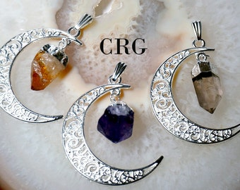 Silver Plated Moon Pendant with Crystal Dangle/ Amethyst / Citrine/ Quartz / Natural Crystal (PT165)