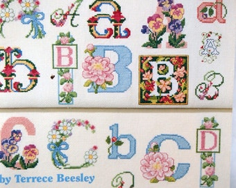 The Ultimate Flower Alphabet Book By Terrece Beesley Vintage Cross Stitch Pattern Booklet 1994