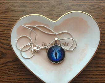 Blue Dragon Eye Pendant Necklace on Silver Chain
