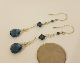 London Blue Topaz Earrings, London Blue Topaz Drop Earrings, London Blue Earrings, Duster Earrings, Long Silver Earring, Blue Silver Earring