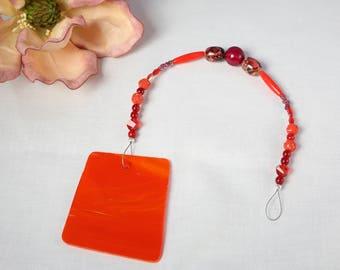 RED-ORANGE stained Glass Sun Catcher Crystal Swarovski