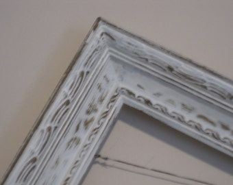 Shabby Chic Open Frame - Rustic Farmhouse Gilded Carved Wood - Vintage Photo Prop - French Country Distressed in Cream