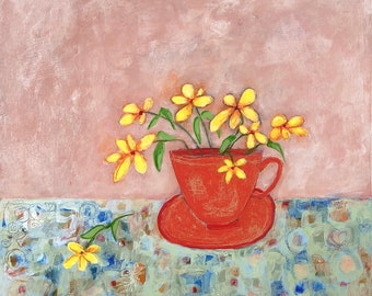 Painting yellow flowers in red teacup acrylic oringinal on wood