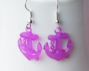 Nautical Anchor Earrings - Purple Anchors
