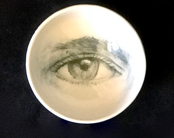 Porcelain White Bowl, Unique Pottery, Drawing of an Eye, Handmade Bowl, Collectible Bowl,
