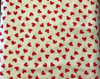 Windham fabrics, Red Hearts on a white background