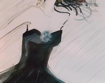 "Black Dress, Fashion Illustration, Art Print, Printable Art, Art Download, 8.5"" x 11"", PDF, Fashion Art Print, Wall Decor"