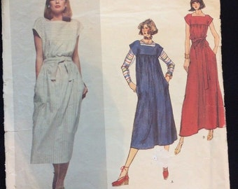 Vogue Paris Original Christian Dior Pattern #1466 Size 10 Belted Loose Dress Smock Maxi Complete Cut