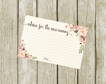 Advice for the New Mommy Cards Baby Shower, Advice for the Mom To Be Cards Printable,  Advice Cards for Baby Shower, 4x6, Instant Download.