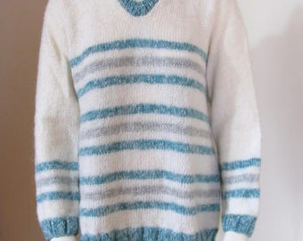 Plus size sweater, v-neck, white Pinstripe Blue and silver.