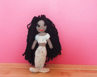 Mermaid hand crocheted in wool and yarn
