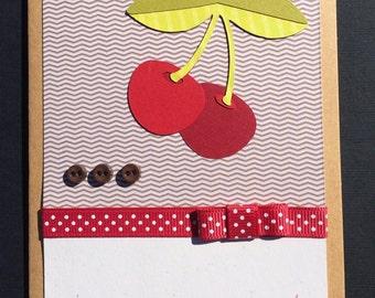 Handmade Wild Cherry Note Card